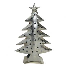 Waxinelichthouder kerstboom zilver (Varios)