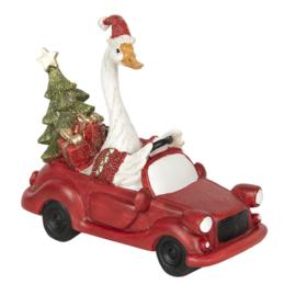 Kerstgans in auto (Clayre & Eef)