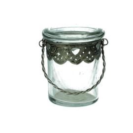 Glazen theelichthouder oudzilver (Kersten)