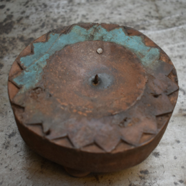 Kaarsenhouder hout klein blauw (Evenaar)