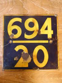 Emaille spoorbordje (Hoogendam Interiors)