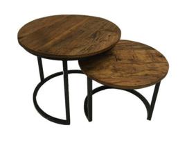 Tafelset 2 stuks hout/metaal (ByMooss)
