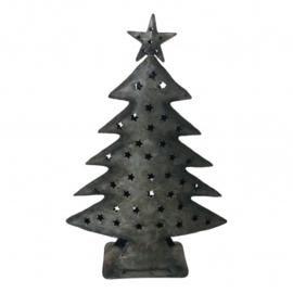 Waxinelichthouder kerstboom staal (Varios)