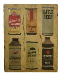 Oud wandbordje blikjes bier
