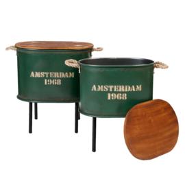 Bijzettafel/opbergton  groen  groot (Clayre & Eef)