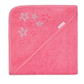 Badcape met sterren roze
