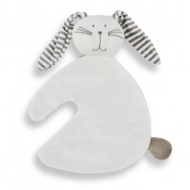Konijn knuf wit grijs gestreept.