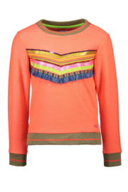 Kidz-Art Sweater with slits and fringe artwork - Neon Orange