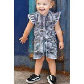 Quapi Baby Girls Playsuit Bianca - Indigo Black Stripe