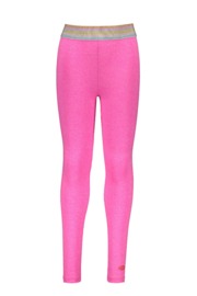 Kidz-Art Legging Grindle melange with fancy stripe elastic - neon pink