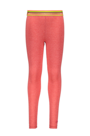 Kidz-Art Legging Grindle Melange With Fancy Stripe Elastic - Neon orange