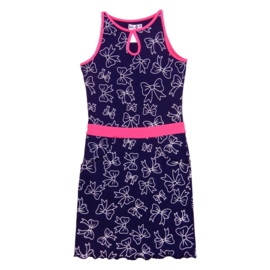 LoFff Midi dress - Dark blue/neon pink