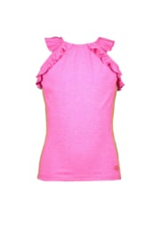 Kidz-Art Tanktop grindle melange with volants + stripe tapes - Neon pink