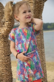 Kidz-Art Dress Allover Print with Fancy Button - Tiger