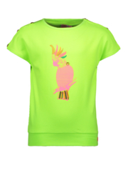 Kidz-Art T-Shirt Fancy Button Parrot - Lime
