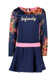 B.Nosy dress with printed velours sleeves and pink piping