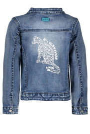 B.Nosy Denim Jacket With Zipper And Ruffle - Middle Denim