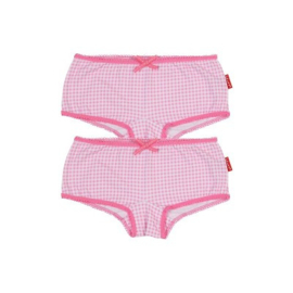 CLAESEN'S GIRLS 2-PACK BOXER-SMALL PINK CHECKS