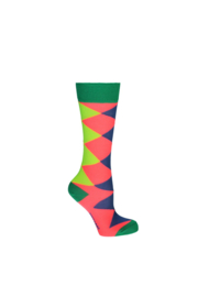 Kidz-Art Knee High Socks multi color Check - Neon Orange