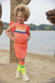 Kidz-Art Dress Ruffle with smocked waist + Fringe tape artwork - Neon Orange