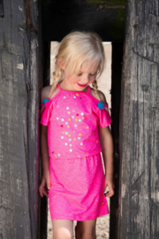 Kidz-Art Dress Grindle melange with smocked waist + panel print Confetti - Neon Pink