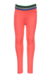 Kidz-Art Legging plain with stripe elastic waist - Neon Diva Pink