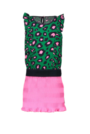 B.Nosy Dress with Leopard top and plisse skirt - Jade Leopard