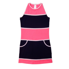 LoFff Block dress - Dark blue/neon pink