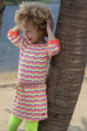 Kidz-Art Dress Allover Print with roll-up Sleeves with Smocked Waist - Zigzag