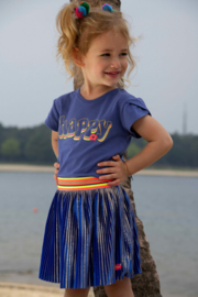 Kidz-Art Woven Satin Plissé Skirt with Gold Stripe coating - Mid Blue