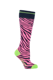 B.Nosy socks with Zebra intarsia - Shocking pink