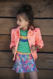 Kidz-Art Woven Twill Jacket With Ruffles - Neon Orange