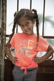 Kidz-Art T-Shirt fancy sleeve + Knotted hem WE ME - Neon Orange