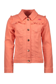 Kidz-Art Woven Twill Jacket With Ruffles - Neon Orange