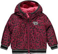 Quapi Baby Girls Reversible Winterjas Vallie - Bordeaux Leopard - Pink