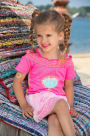 Kidz-Art Off-shoulder T-Shirt smocked neckline + Straps HEART