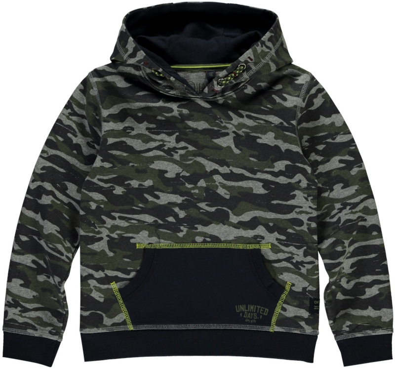 Quapi Boys Hooded Sweater Tjebbe - Army Green camo