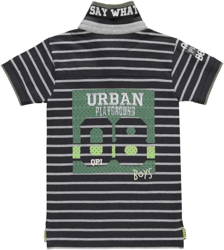 Quapi boys polo shirt Sander 'Grey stripe'