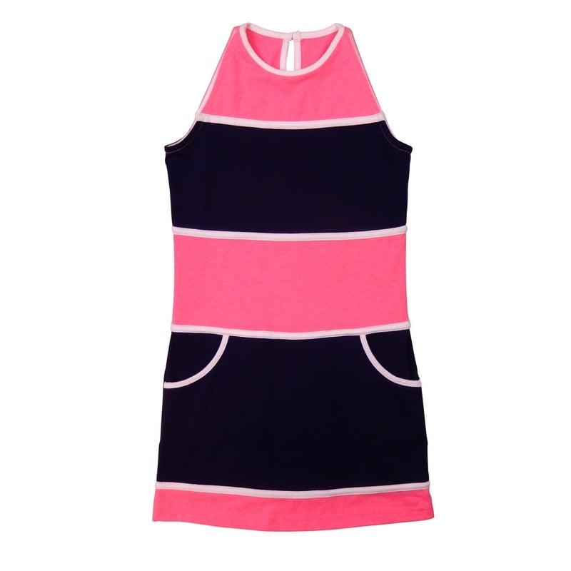 LoFff Block dress - Dark blue/neon pink