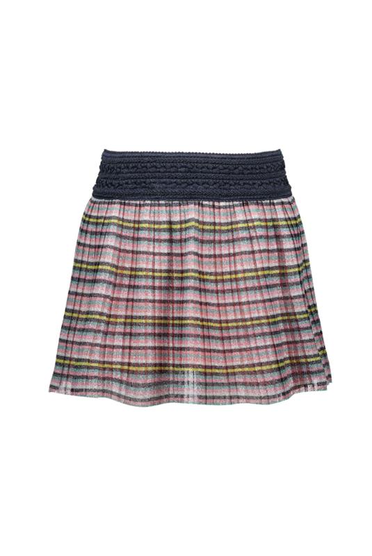 B.Nosy Multi Color Plissé Skirt With Lurex - Multi Stripe Glitter