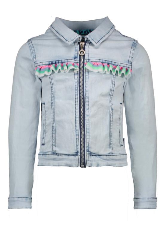 B.Nosy Girls Denim Jacket with multi coloured ruffle - Light Denim