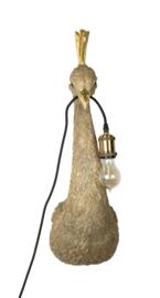 Pauw lamp goud