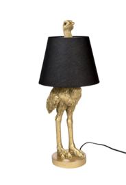 Struisvogel lamp goud met kap