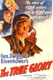 Nr.2197 --16mm-- The True Glorie 1945, oorlogs documentaire van War Department, ingekorte versie van ca.70 minuten zwartwit Engels gesproken, met begin/end titels , zie ook de omschrijving, op 2 spoelen en in doos