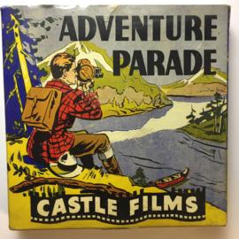 Nr.16343 -- 16 mm -- Castle film, Adventure Parade  CameraThrills complete edition, prachtige zwartwit film lengte ongeveer 120 meter orginele Castle film, zwartwit silent, compleet met begin/end titels in orginele doos