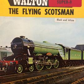 Nr.6735 -- Super 8 Silent--The Flying Scotsman uit 1928, treinenfilm zwartwit silent op 60 meter spoel in orginele fabrieks doos
