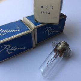 Nr. R165  Riluma Exciter Lamp 6V - 1A, sokkel P30s,  BSS,  gloeidraad verticaal, toonlamp voor o.a. Hokushin 16mm projectoren