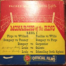 Nr.16346- DEEL 1 -- 16 mm -- Official films Monarchs of the Ring, 120 meter, DEEL 1 prachtige zwartwit film lengte ongeveer 120 meter , zwartwit silent, compleet met begin/end titels in orginele doos