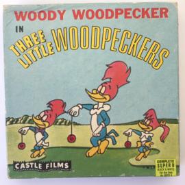 Nr.6964 -- Super 8 SOUND-- Three Little Woodpeckers, Woody Wood Pecker ,zwartwit silent  in orginele doos