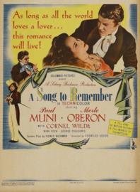 Nr.2144 --16mm--  A Song to Remember (1945) Drama / Muziekspeelduur113 minuten mooi van kleur, Engels gesproken met Ned.ondertitels, comleet met begin/end titels op 2 spoelen en in doos